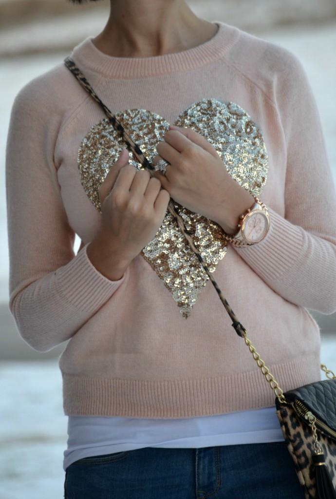 Sweater, H&M, Purse,  Jessica Simpson, Watch, Michael Kors, Jeans, The Gap, Sequins Pumps, Guess