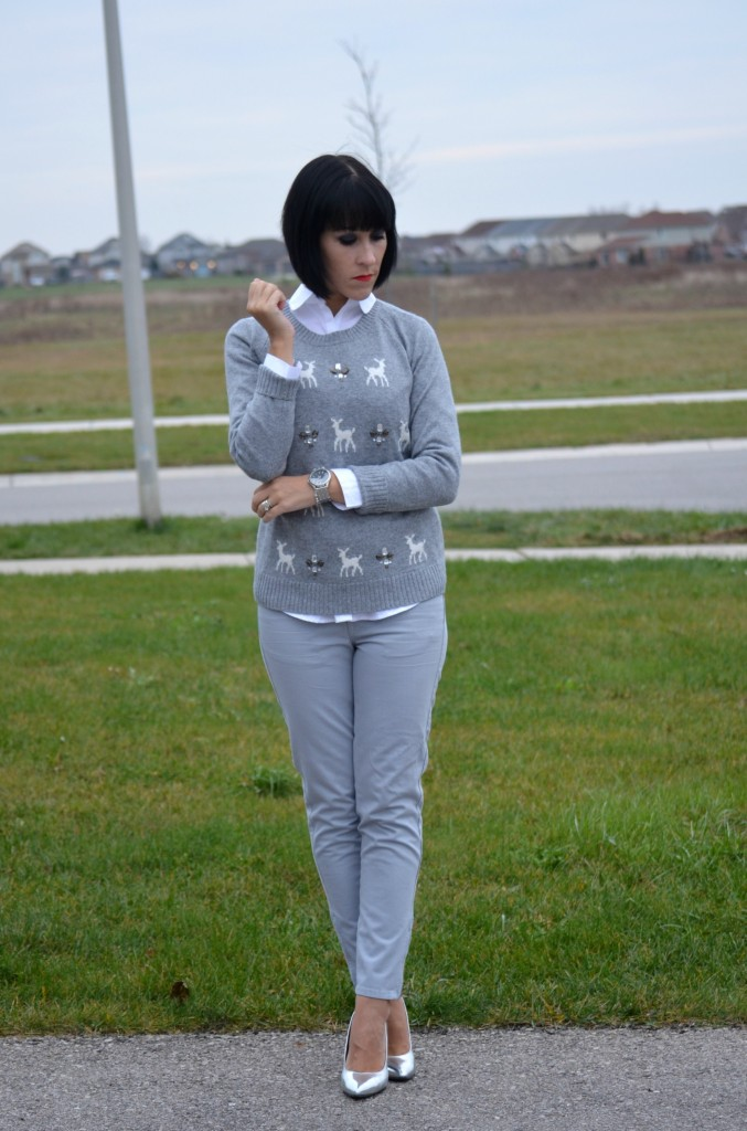 Smart Set Blouse, holiday sweater, silver bracelet, Swarovski bracelet, silver watch, aldo clutch, joe fresh jeans, target heels, silver jewelry, white shirt