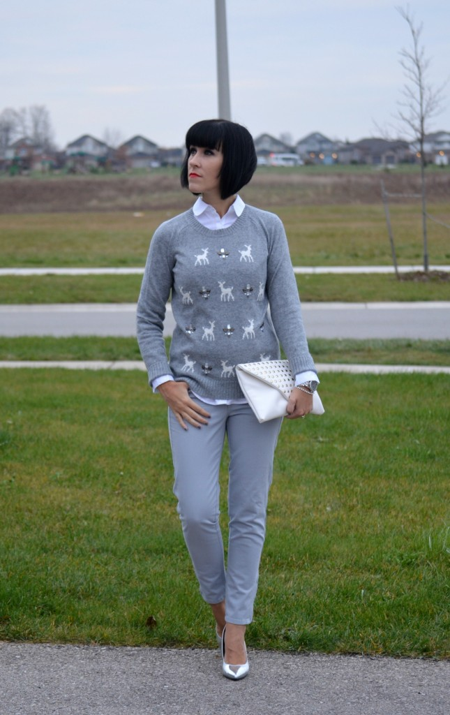 Smart Set sweater, Caravelle New York watch, white clutch, jeans, silver heels, Swarovski, pumps, clutch, joe fresh, grey top