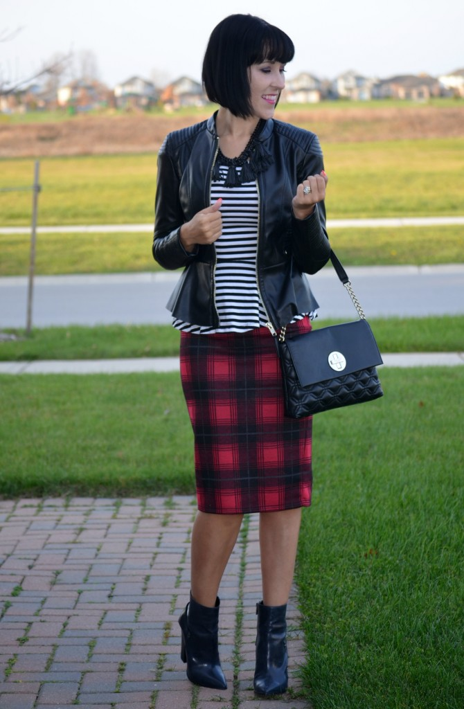 making a statment, What I Wore, Peplum Top, H&M, Peplum Faux Leather Jacket, purse, Kate Spade, Lucinda Black Fringe Necklace, Cocoa Jewelry, Skirt, Smart Set, Nine West Booties