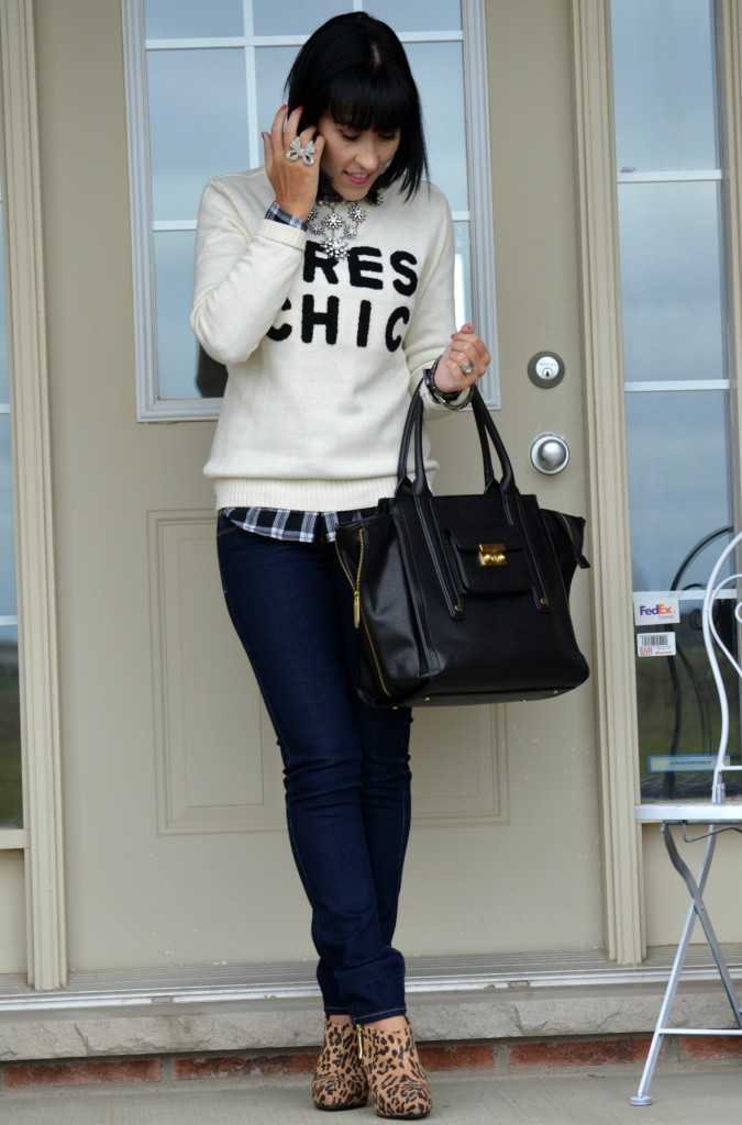 What I Wore, sweater, forever 21, necklace, cocoa jewelry, statement necklace, Swarovski bracelet, plaid shirt, smart set, purse