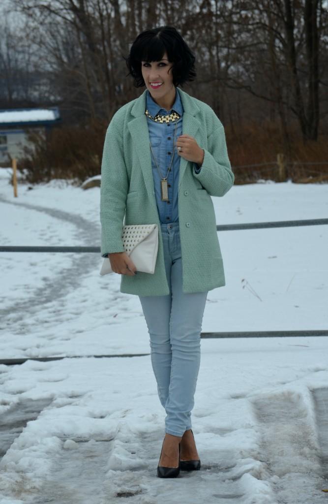 Winter Mint coat, denim on denim, canadian tuxedo, mint jacket, winter coat, cocoa jewelry necklace, white clutch