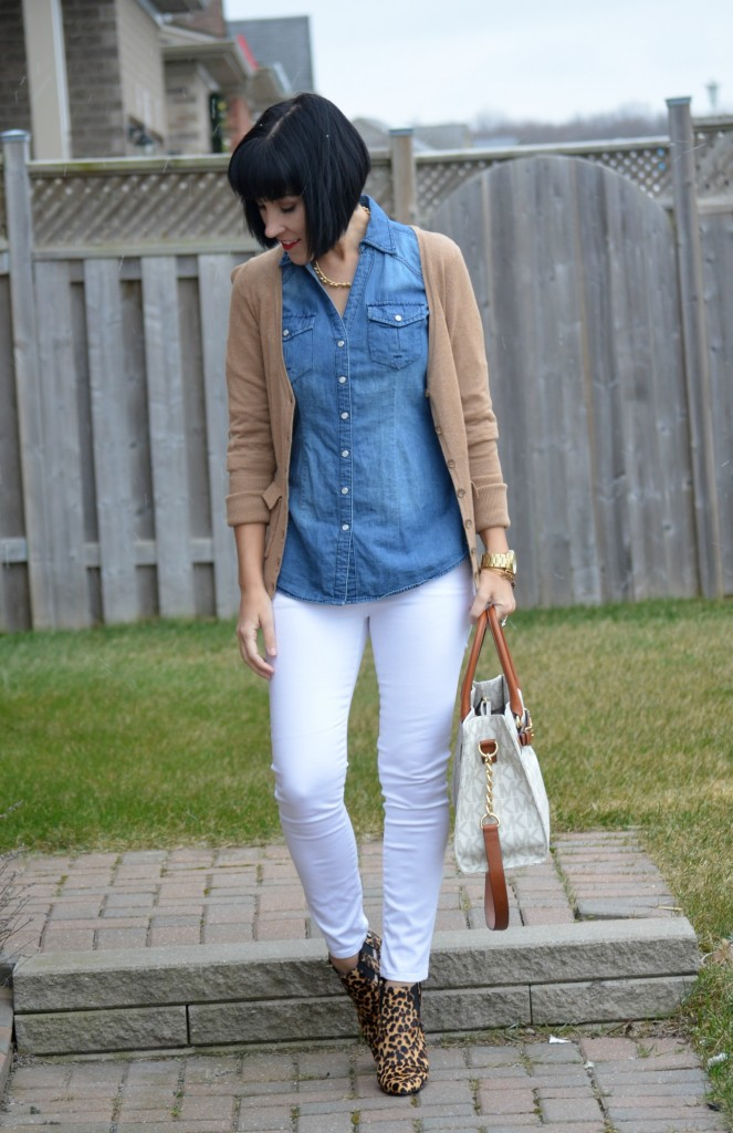 What I Wore, Cardi, Smart Set, Watch, Guess, Bangles, Alex And Ani, Necklace, Denim Top, Purse