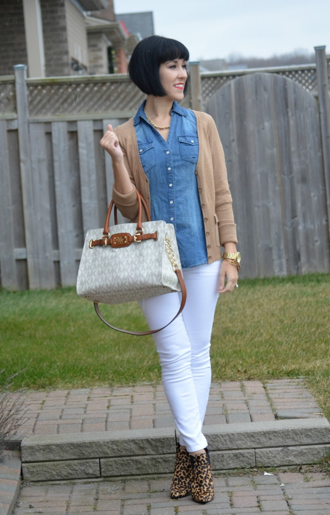 Michael Kors, Jeans, The Gap, Animal Print Booties, Nine West, camel cardi, smart set sweater, gold watch, guess watch, rose gold bangles