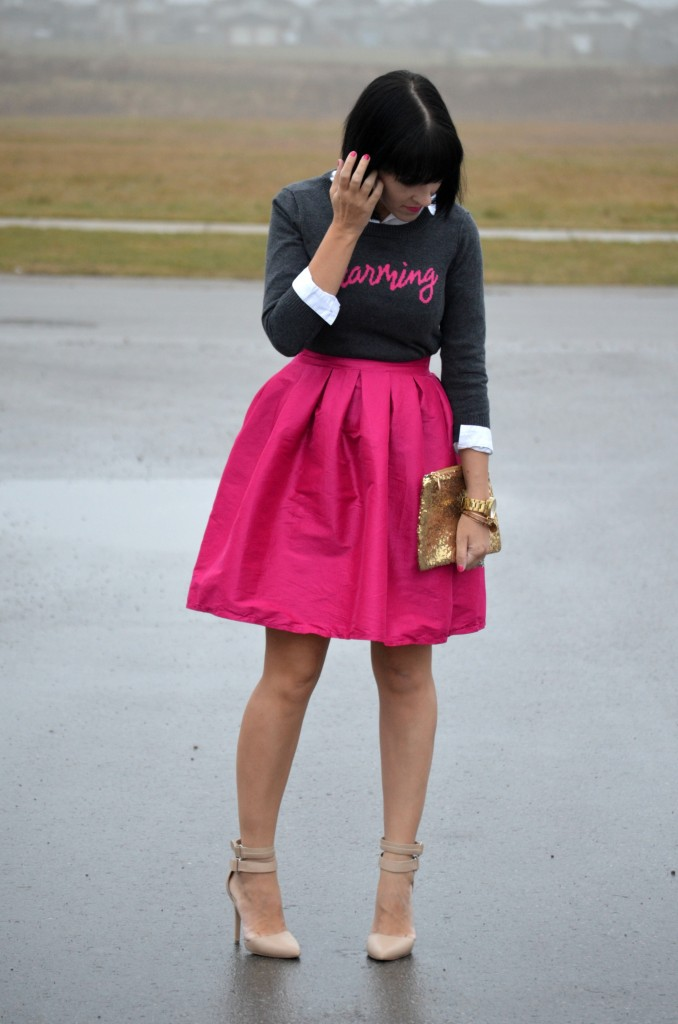 What I Wore, Sweater, Smart Set, Skirt, eBay, Gold Sparkly Clutch, Watch, Guess, Bracelets, Pumps