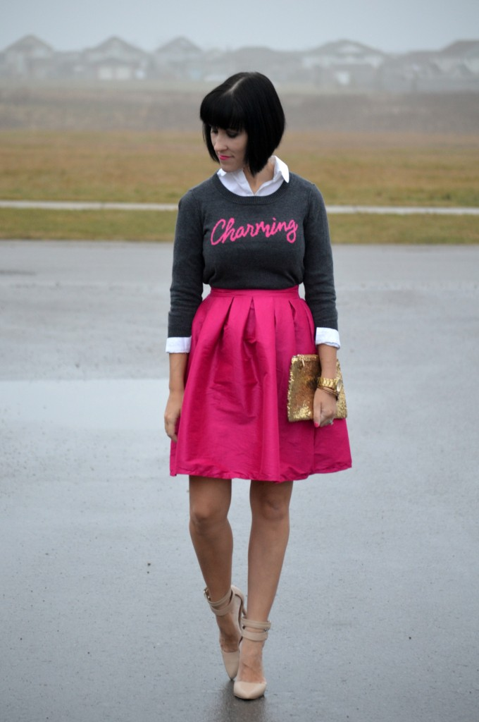 smart set sweater, alex and ani bangles, pink party skirt, gold clutch, gold watch, midi skirt, nude shoes, clutch, white blouse, le chateau shoes