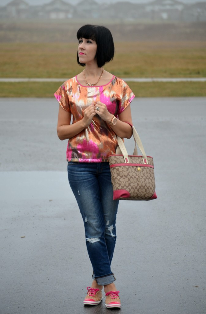 sparkly top, holiday party, pink top, H&M blouse, boyfriend jeans, The Gap jeans, coach purse, keds, ked style, pink sneakers, blue jeans