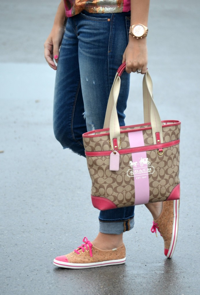 michael kors watch, rose gold watch, blue jeans, the gap, boyfriend jeans, keds, pink shoes, pretty in pink, pink sparkly top, glitter blouse, pink purse, coach handbag