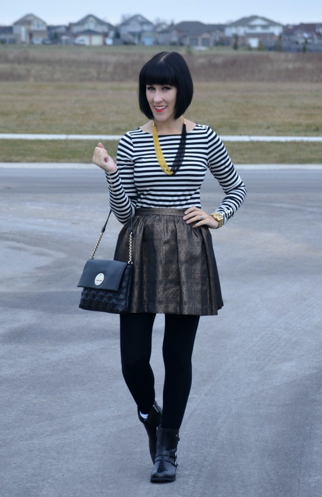 What I Wore, Top,  H&M, Necklace, Pearls for Girls, Watch,  Guess, Purse, Kate Spade, Skirt