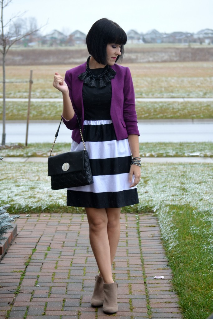 What I Wore, black and white Dress, Smart Set dress, purple Blazer, H&M blazer, statement Necklace,  Cocoa Jewelry, black Purse, Kate Spade handbag, Dena Sisany Booties