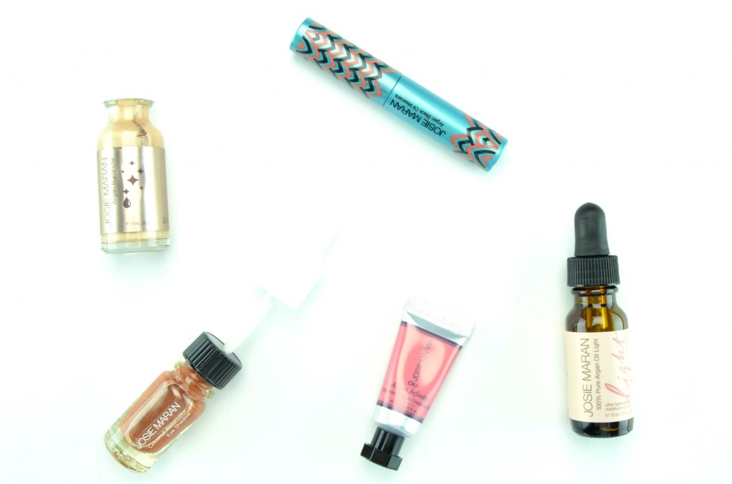 Josie Maran Winter Dreams Argan Colour Collection review, Argan Black Oil Mascara, Argan Infinity Lip and Cheek Creamy Oil, Coconut Watercolor Eyeshadow, Argan Illuminizer, 100% Pure Argan Oil Light