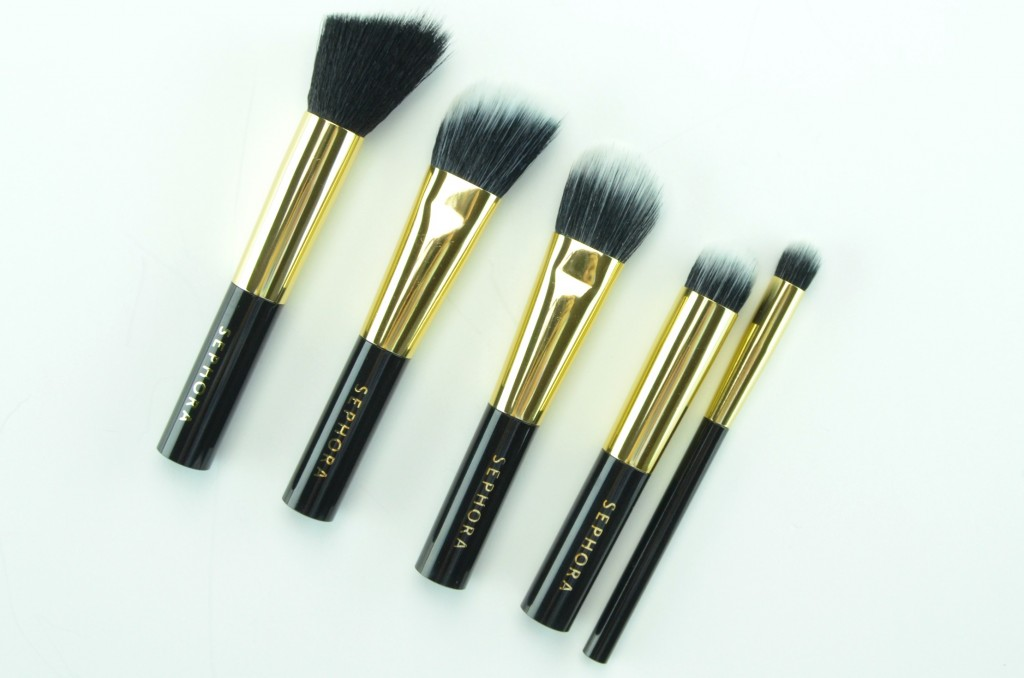 Sephora Collection All A Glow Brush Set, cream blush brush, contour brush, foundation brush, highlight brush, concealer brush, black and gold pouch, makeup brush set, holiday collection