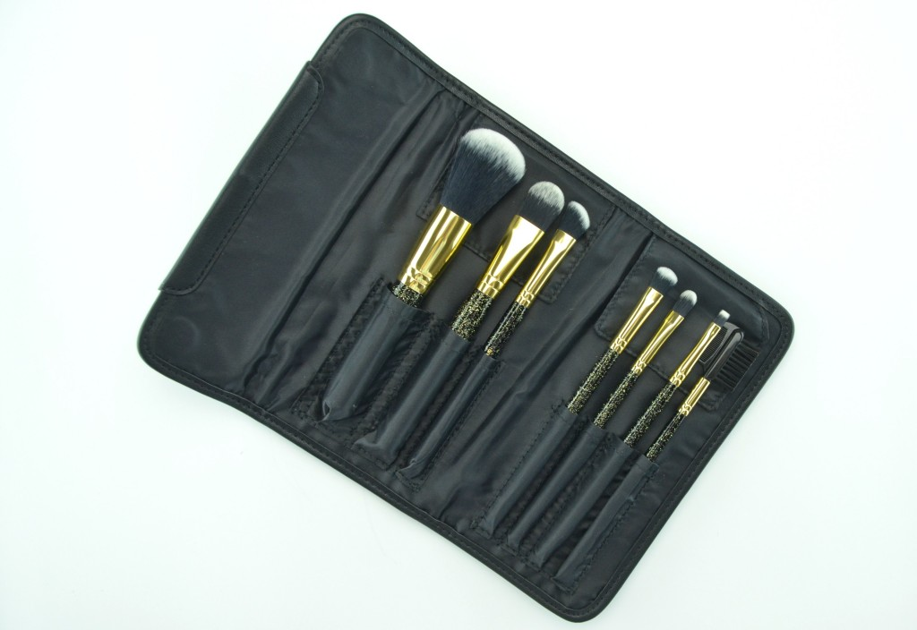 Sephora Collection Pure Luxury Antibacterial Brush Set, powder brush, foundation brush, angled eye shadow brush, eye shadow brush, concealer brush, flat eyeliner brush, brow comb, gold and black quilted pouch
