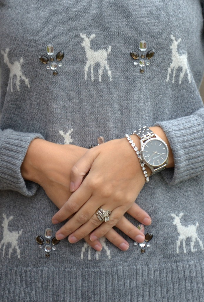 Swarovski's bracelet, What I Wore, Sweater, Smart Set, Earrings, bracelet, Swarovski, Sequins Leggings,  Aerie