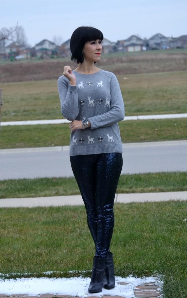 holiday Sweater, Smart Set sweater, grey sweater, crystal Earrings, silver bracelet, blue Sequins Leggings,  Aerie leggings, nine booties