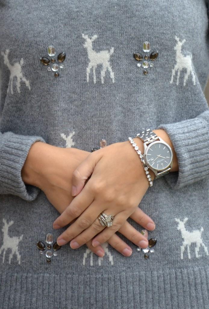 Swarovski's bracelet, What I Wore, Sweater, Smart Set, Earrings, bracelet, Swarovski, Sequins Leggings,  Aerie