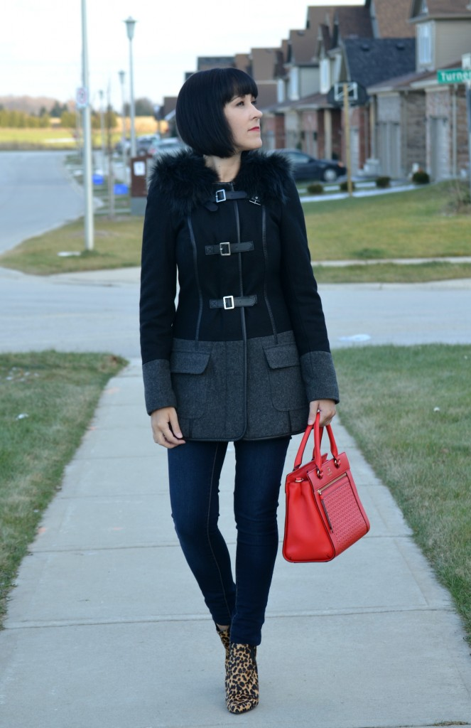 What I Wore, Winter Coat, RW& Co, Handbag, Kate Spade, Jeans, Smart Set, Booties, Nine West