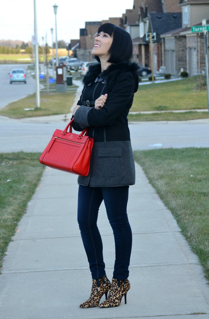 black Winter Coat, RW& Co jacket, red Handbag, Kate Spade purse, skinny Jeans, Smart Set jean, leopard Booties, Nine West boots