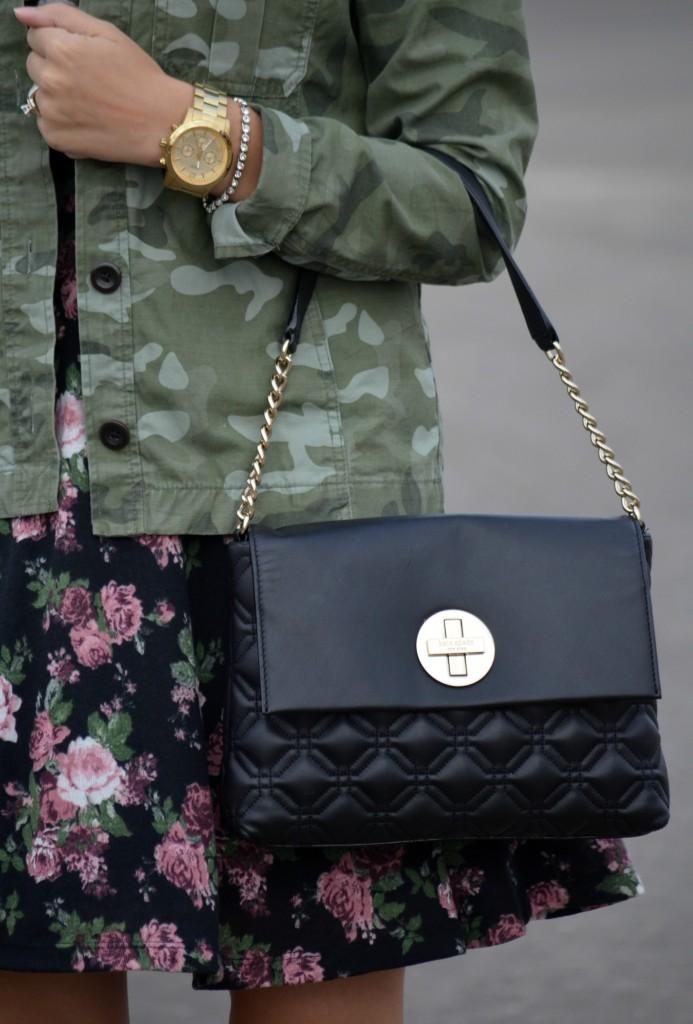 winter Dress, Smart Set floral dress, Army green Jacket, The Gap jacket, black handbag, Kate Spade purse, gold necklace, silver bracelet, oversized Watch