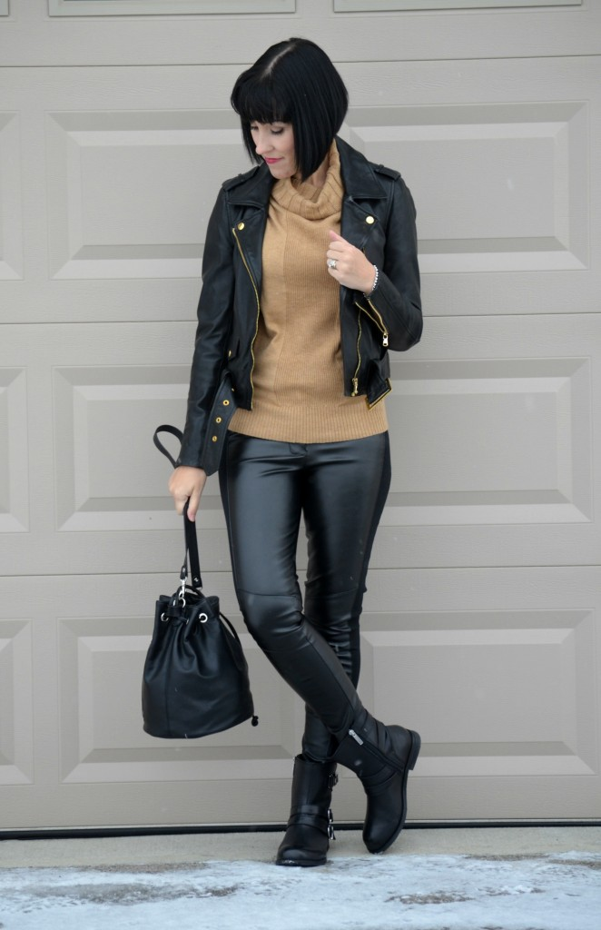 Sweater, Smart Set. Leather Jacket, Danier, Sunglasses, Oakley, Bucket Bag, Express, Faux Leather Pants, Sheinside