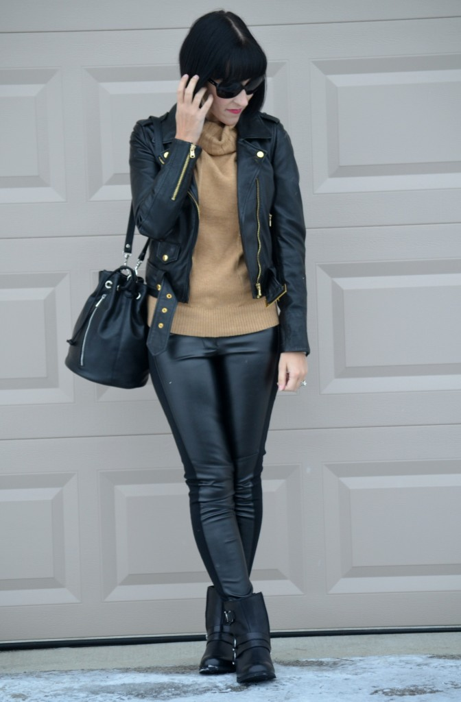 tan Sweater, Smart Set sweater, black Leather Jacket, Danier leather, oversize Sunglasses, Oakley sunglasses, black Bucket Bag, Express purse, Leather Pants, Sheinside pants