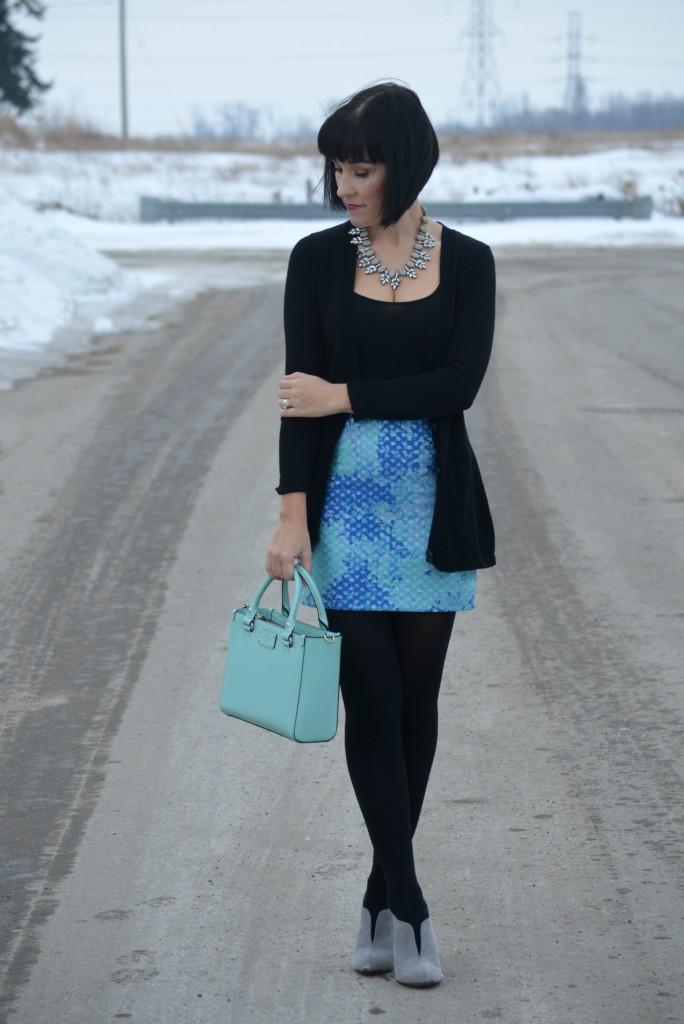 H&M skirt, grey Booties, Kohls boots, tank top, black shirt, boyfriend cardigan, black sweater, statement necklace, teal kate spade purse, blue skirt
