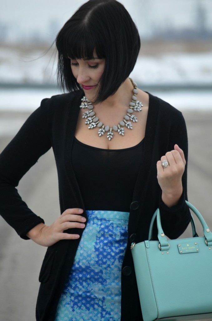 What I Wore, black Tank top, Smart Set top, Boyfriend Sweater, RW&Co cardigan, crystal Necklace, Shop Style Unstructured, teal Purse, Kate Spade handbag, mini Skirt