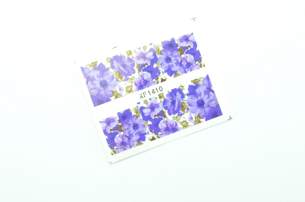 Full Nail Water Decals, Transfer Sticker, Romantic Blue Flower, floral Pattern