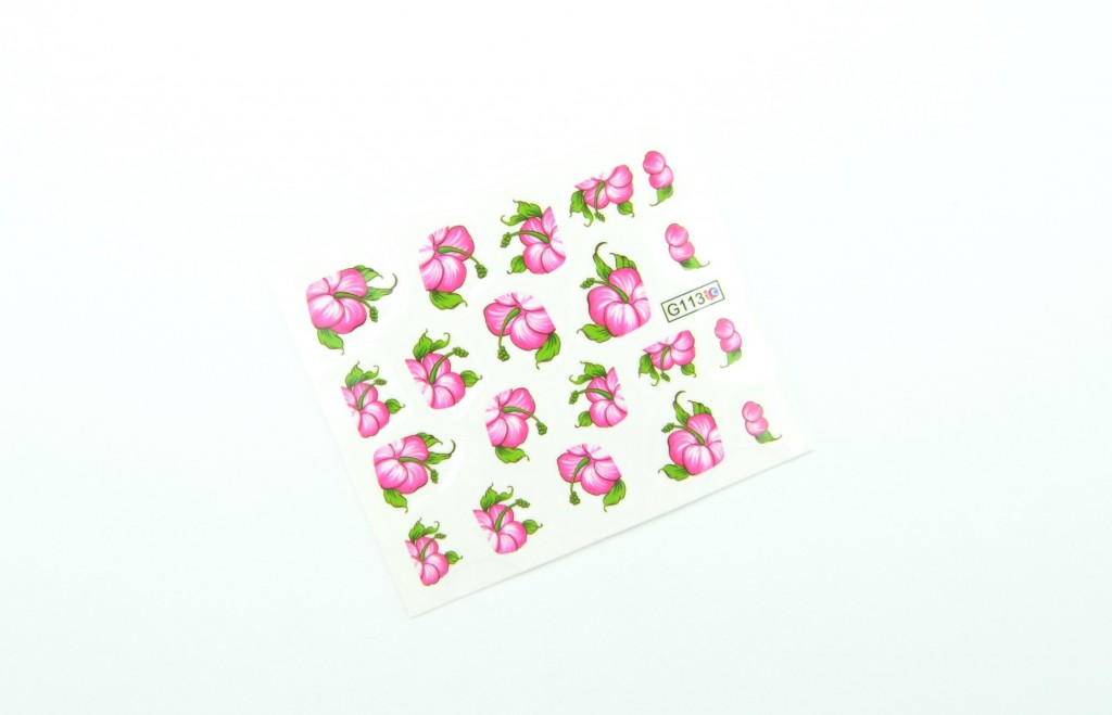 Nail Art Water Decals Transfer Stickers, Rose Red Bloomy Floral Sticker