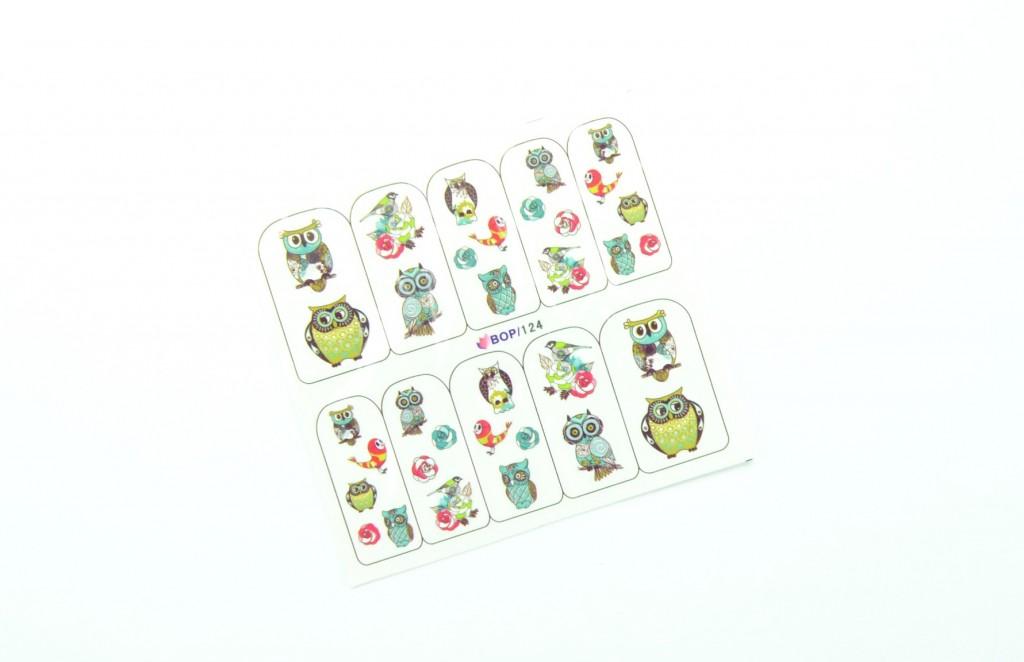 Nail Art Water Decals Transfer Stickers, Cute Animal Owl Elephant Pattern Sticker