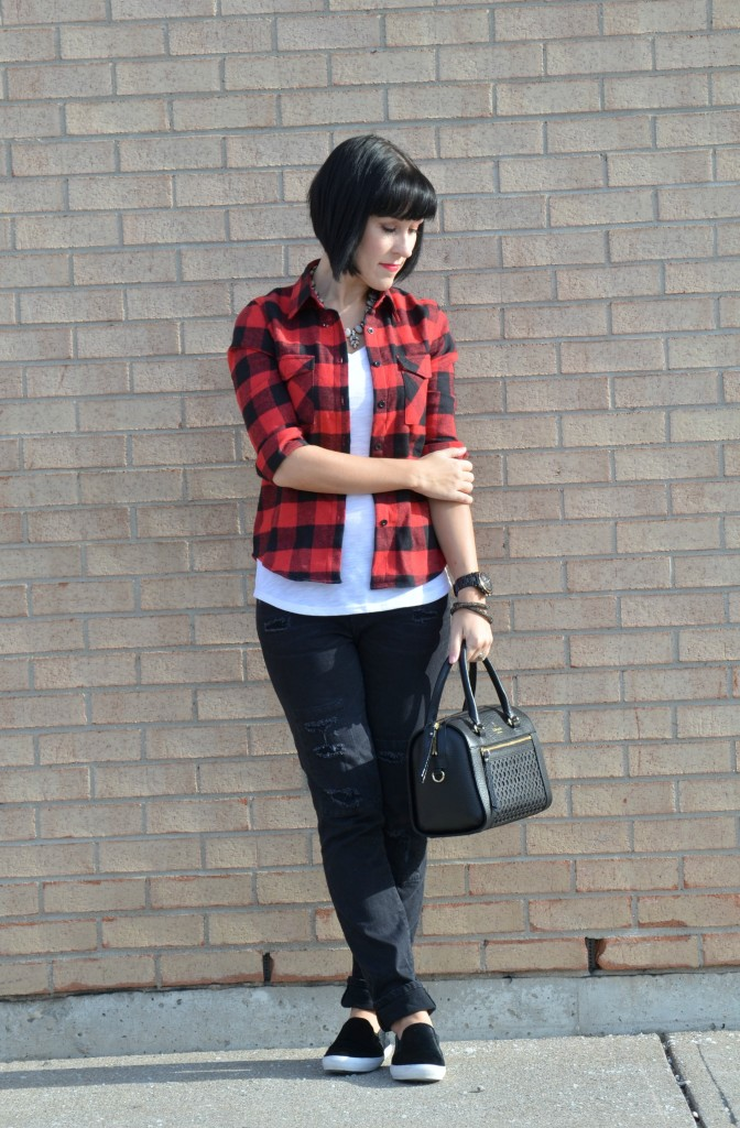 Buffalo Plaid shirt, What I Wore, Buffalo Plaid Shirt, Sheinside top, white Tee, Smart Set t-shirt, statement Necklace, Shop Style Unstructured, black Purse, Kate Spade handbag
