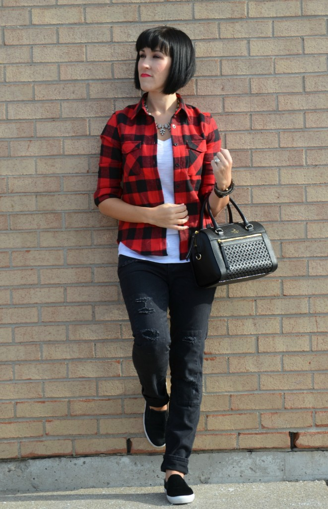 black and red  Buffalo Plaid, flannel Shirt, Sheinside sweater, white v-neck, white t-shirt, crystal Necklace, black kate spade Purse, black guess Watch, black gap Jeans, boyfriend jeans, black Slip-on Sneakers
