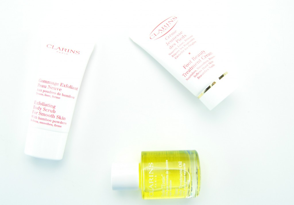 Clarins Exfoliating Body Scrub, Foot Beauty Treatment Cream, Tonic Body Treatment Oil , soft feet, foot massage