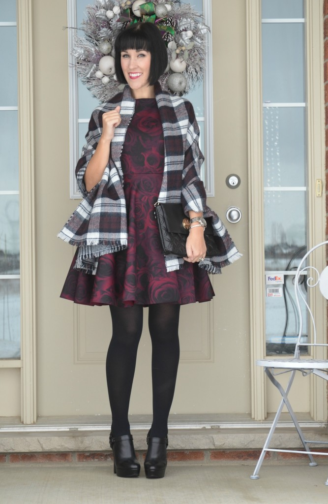 What I Wore, Dress, ElleXRWCo, Blanket Scarf, RW&Co, Purse,  Kate Spade, Booties,  Aldo