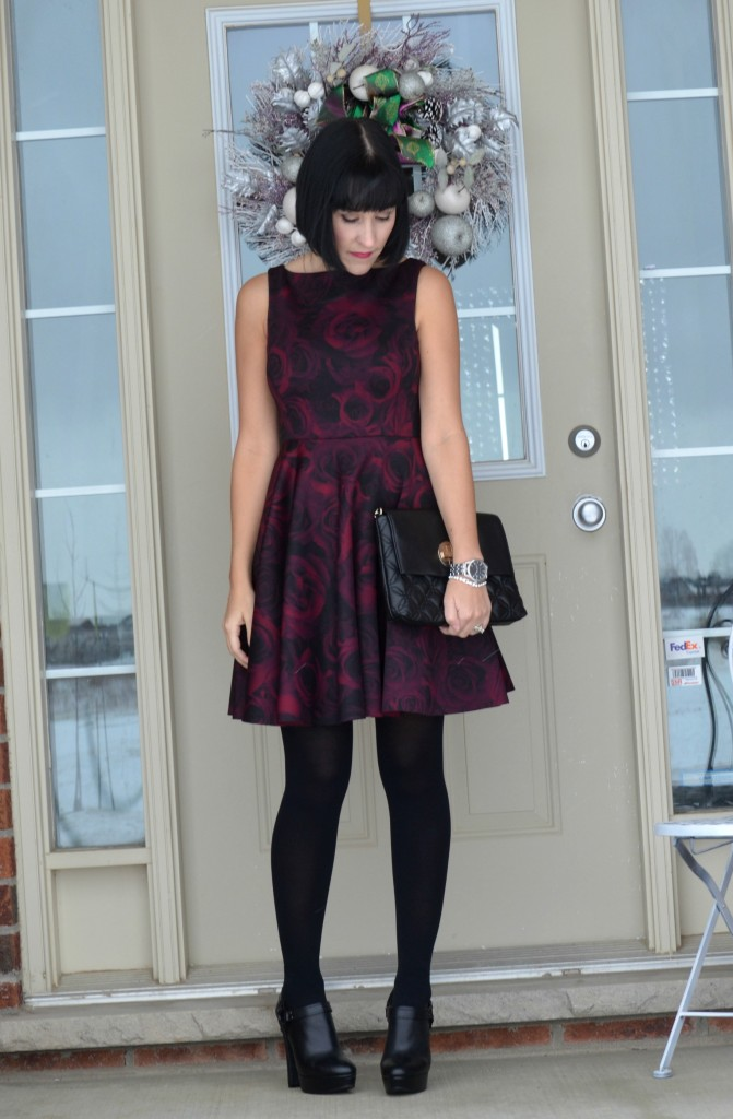 What I Wore today, floral Dress, ElleXRWCo dress, plaid Blanket Scarf, RW&Co dress, black Purse, Kate Spade handbag, black Booties,  Aldo boots