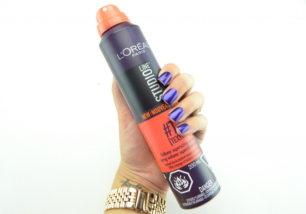 L'Oreal Studio Line, volume Supersizing Spray, add volume to hiar, Blogger, Makeup Crimes, Fall Makeup looks, Latest cosmetics trends, makeup tips, Toronto Blog, How to apply, makeup trends, crimes of beauty, beauty blog