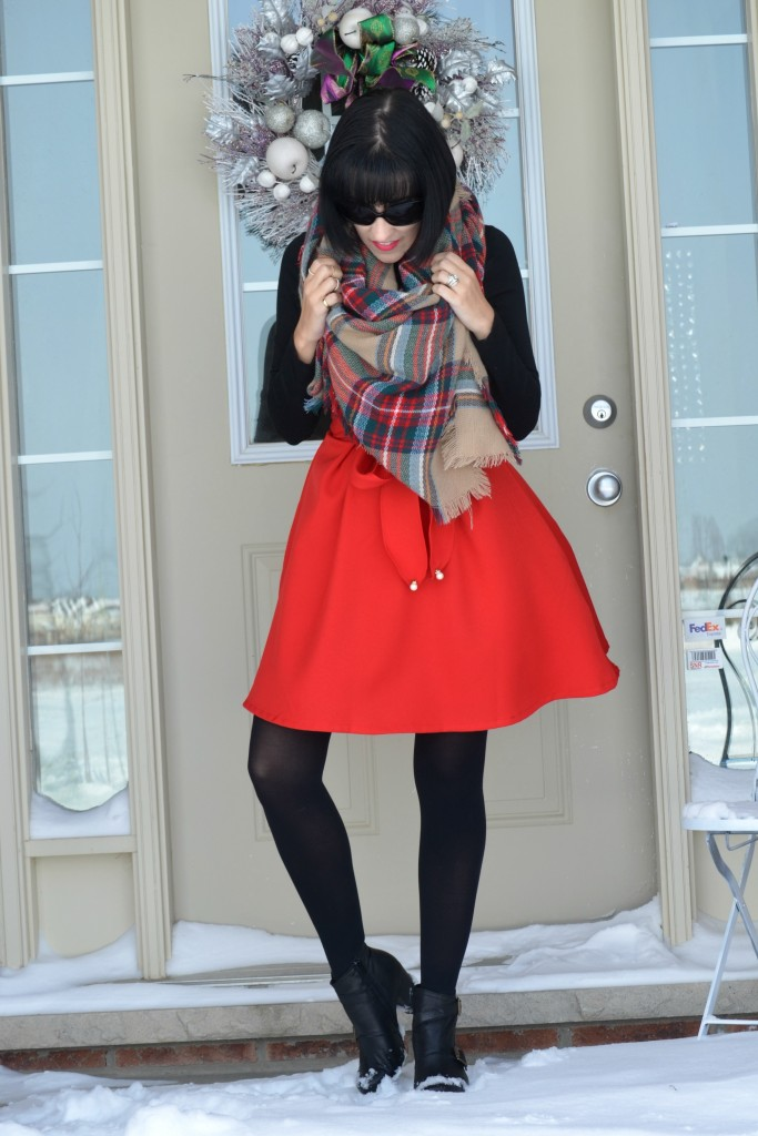 Miz Mooz booties, black cotton Top, Smart Set top, black Sunglasses, Oakley sunglases, gold Midi Rings, eBay midi rings, plaid Blanket Scarf, red Sheinside Skirt, black booties