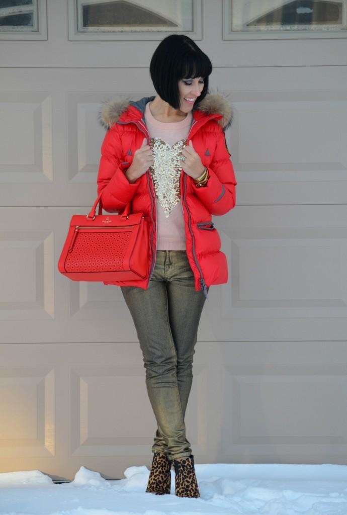 Eleven Elfs, #MyElevenElfs, winter coat, red winter jacket, heart sweater, sequin heart sweater, gold jeans, waxed denim, animal print booties, nine west boots