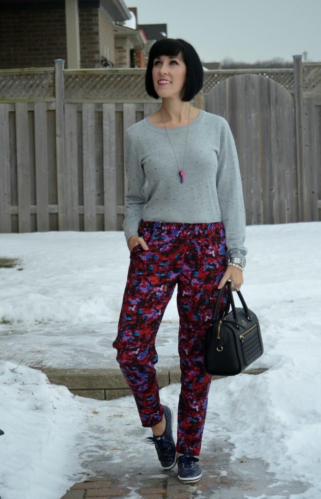Sarah Stevenson x Target pants, black Heels, DSW shoes, glitter Sneakers, Keds x kate spade