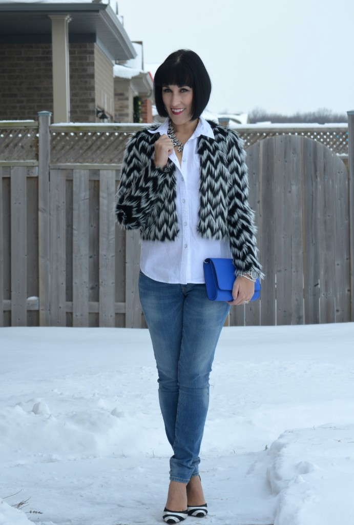 Shop Style Unstructured jewelry, blue clutch,  H&M purse, Faux Fur coat,  H&M jacket, boyfriend Jeans, the Gap jeans, black and white Shoes, The Bay heels