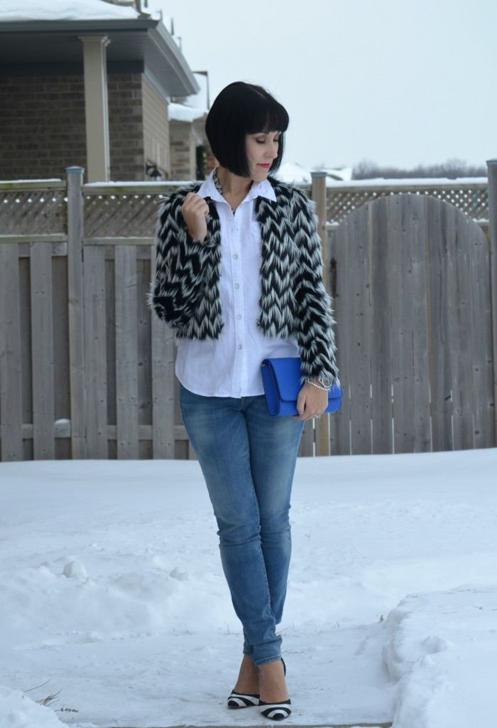 Shop Style Unstructured necklace, H&M clutch, Faux Fur Jacket, H&M, Jeans, the Gap, Shoes, The Bay