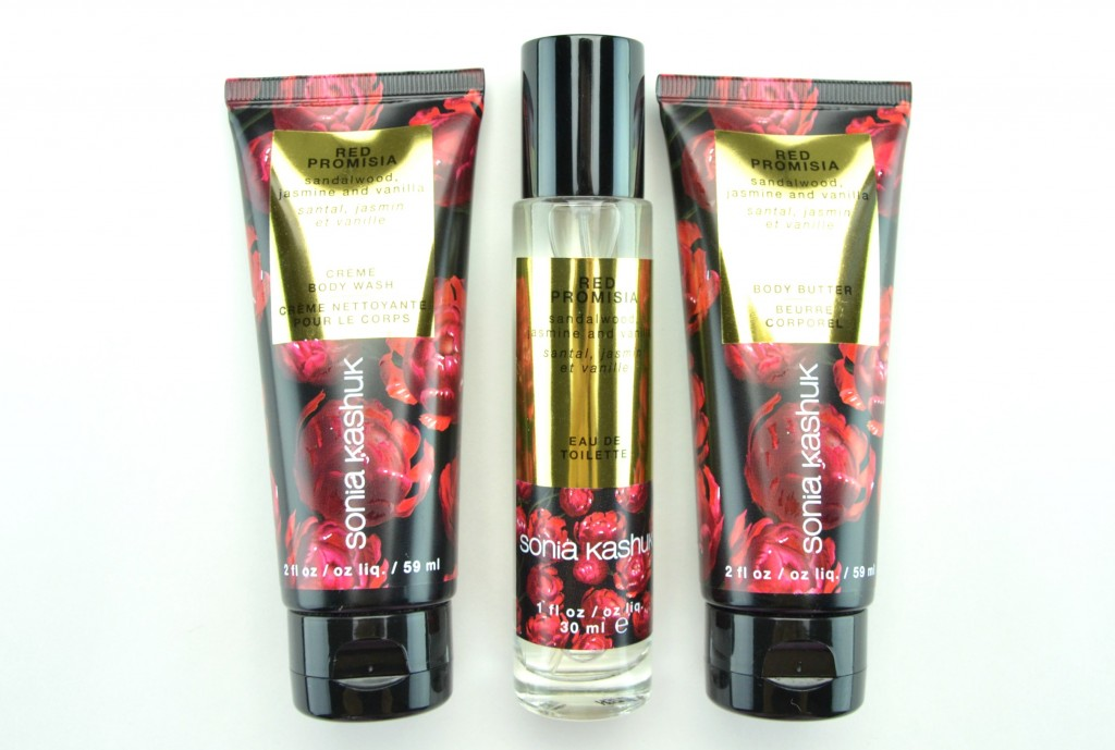Sonia Kashuk Red Promisia Bath and Body Travel Set, body butter, eau de toilette, crème body wash, Toronto Blog, How to apply, makeup trends, crimes of beauty, beauty blog