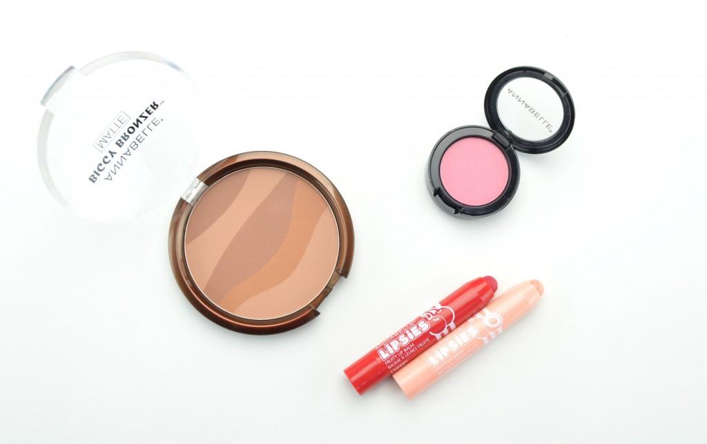 Annabelle cosmetics, Annabelle Zebra Bronzing Pressed Powder Biggy Bronzer , Annabelle Blushon ,Annabelle Lipsies Lip Balm, lip balm, bronzer, lippies, pink blush