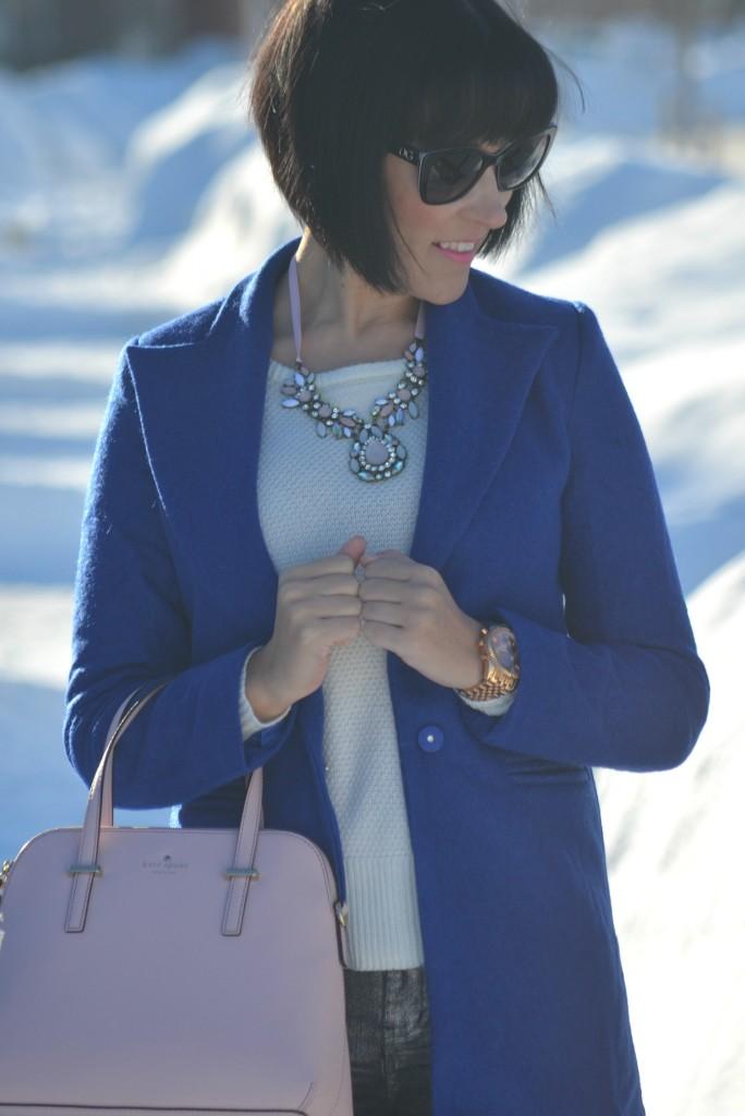 Pink kate spade handbag, blue Jeffery Campbell pumps, cobalt winter coat, cobalt coat, winter jacket, SmartBuyGlasses sunglasses, Smart Buy Glasses