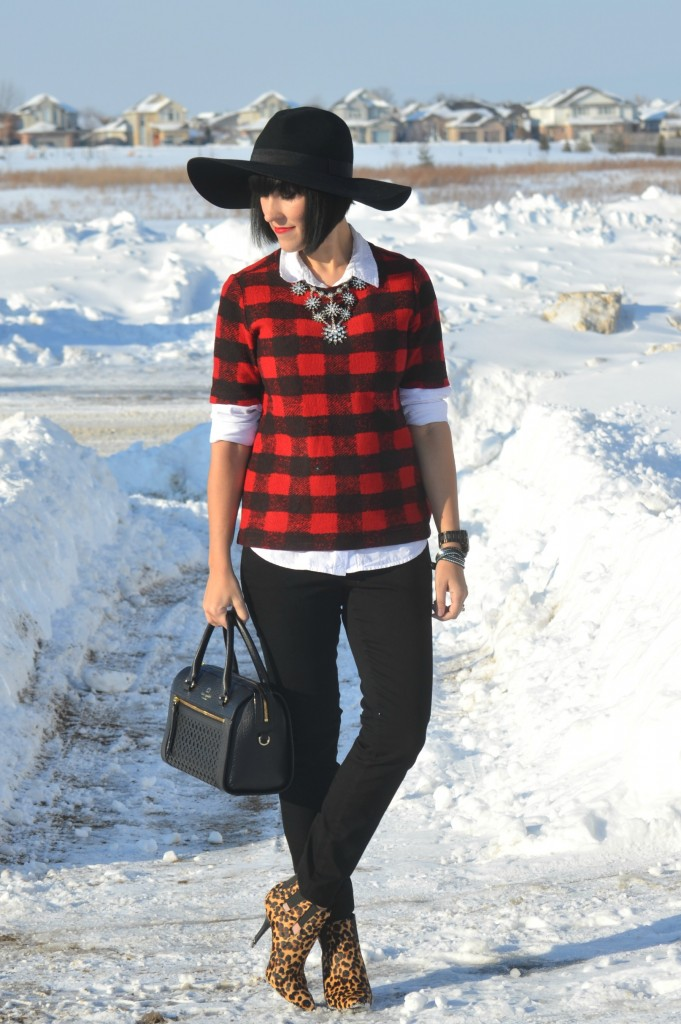 WIW, red Buffalo Plaid Top, Joe Fresh top, White button down Blouse, The Gap blouse, statment Necklace, Cocoa Jewelry necklace, black wrap Bracelet, Swarovski bracelet, guess Watch