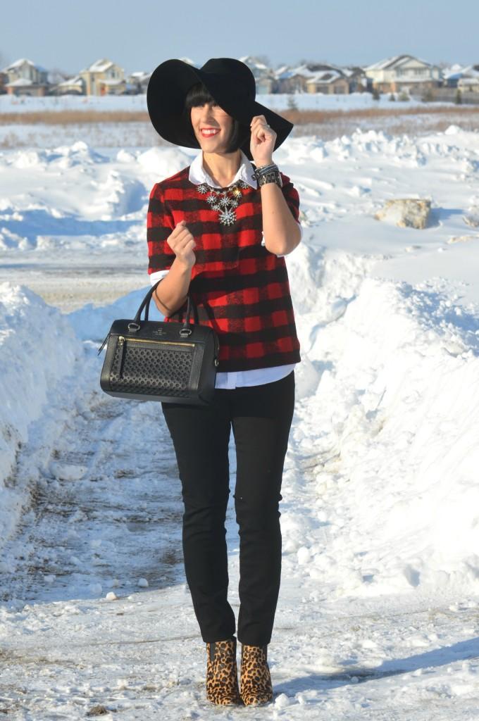 black Watch, Guess watch, floppy Hat, H&M hat, black purse, Kate Spade handbag, black Jeans, Smart Set jeans, Animal Print Booties, Nine West boots