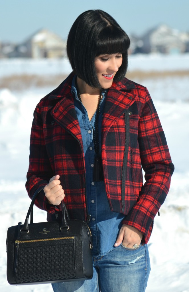 What I Wore, denim on denim, denim shirt, smart set blouse, black fringe necklace, cocoa jewelry, buffalo plaid jacket, the gap coat, black purse, kate spade handbag
