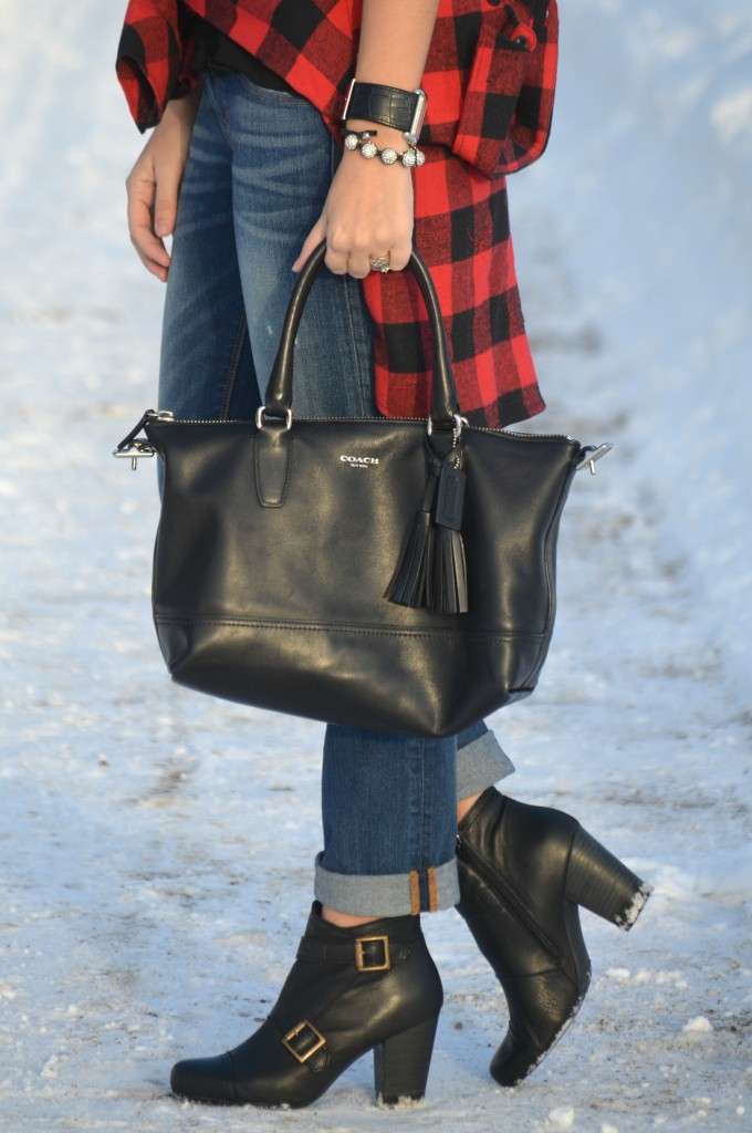 Coco Made Me Do It t-shirt, boyfriend jeans, black coach purse, black guess watch, cocoa jewelry bracelet, buffalo plaid flannel shirt, buffalo plaid shirt