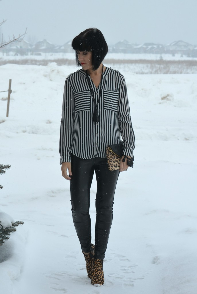 What I Wore, Blouse, H&M, Necklace, Bracelet, Cocoa Jewelry, Clutch, Jessica Simpson, Faux Leather Pants