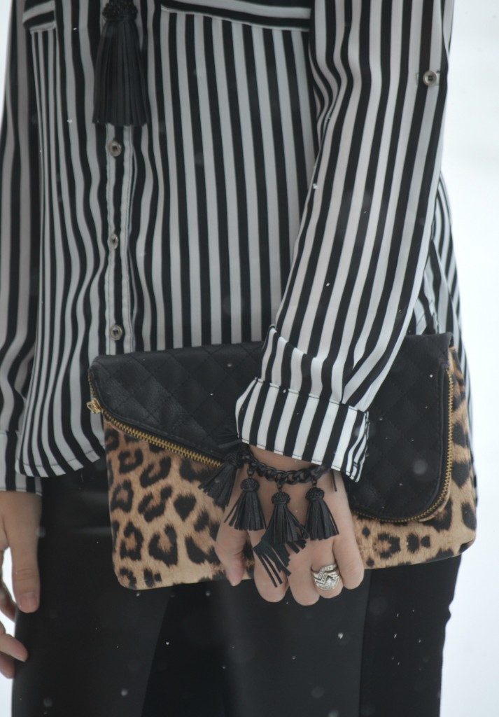 Sheinside pants, Animal Print Booties, Nine West, boots, black blouse, statement necklace, tassel necklace, leather pants